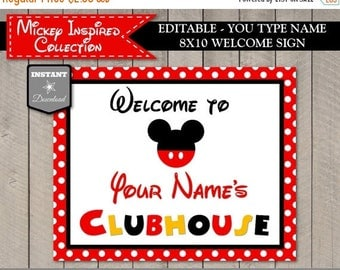 SALE INSTANT DOWNLOAD Editable Mouse 8x10 Welcome Sign / You Type Name / Printable Diy / Mouse Classic Collection / Item #1513