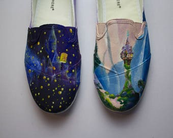 Tangled Hand Painted Shoes - Size 7