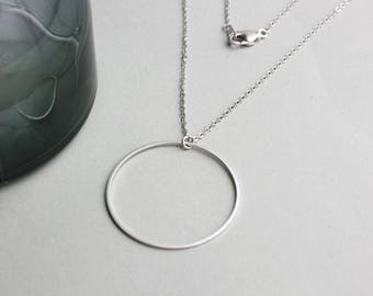Round large Circle Circle-silver plated necklace