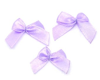 50 x Purple Mini Satin Like Ribbon Bow Fabric Appliques. 2cm x 2.5cm. Perfect for Sewing, Dressmaking, Scrapbook, Cardmaking & Embellishment
