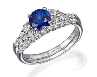 White Gold Engagement Set, Blue Sapphire Ring, Antique Ring, Vintage Ring, Wedding Set, Bridal set, Ring Set, Jewelry set, Blue Ring, Gift