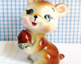 Kitsch Vintage Mouse with Acorn Cute Figurine, Ornament, Christmas Decor, Collectible Mouse Ornament 1960's.
