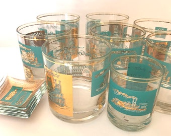 Vintage (11) PC  Libbey Southern Comfort River Boat Gold and Turquoise Teal Rocks, Jigger Shot and Lemon Plates Glassware