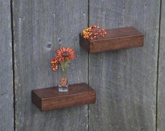 Matching Pair of Walnut Floating Shelves 9 x 4