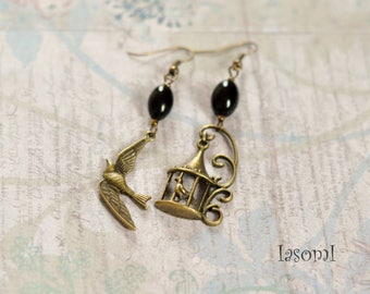 "Earrings retro asymmetrical ""Bird in cage"""