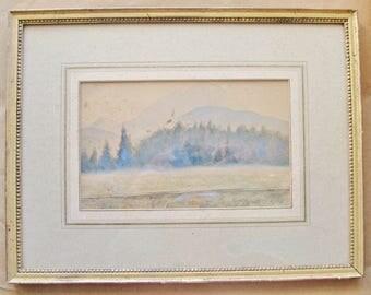 ORIGINAL ART, Watercolor, Signed, Dated 1948, Framed, Austrian Landscape, Frauenstein,  Gold Frame,