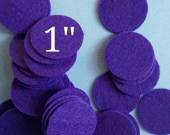 """ON SALE 1""""  FELT circle appliques,Purple felt pad, back felt cover,die cut felt circle,felt circles ,you pick"""