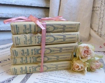 Set of 5 french pale yellow hardback books. 1930s. Ivory Jeanne d'Arc living. Rustic romantic. French Nordic. Pretty books shabby french.