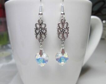 Edwardian style crystal heart earrings, swarovski heart, valentine earrings, wedding crystal AB heart earrings heart jewelry bridal earrings