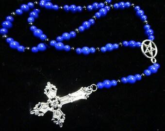 Inverted Cross Pentagram Rosary Blue