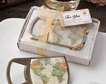 Vintage Travel Map Bottle Opener - Destination Wedding Favors - Bottle Openers - Travel Favors - Wedding Favors (4247)