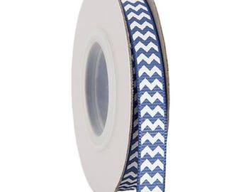 "Grosgrain Chevron Ribbon 3/8"" - 10 Yards - Country Blue"