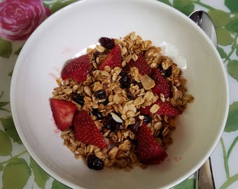 Crunchy Vegan Breakfast Granola Recipe With Fresh Fruits PDF Download DIY Breakfast Cereal Homemade Healthy Granola
