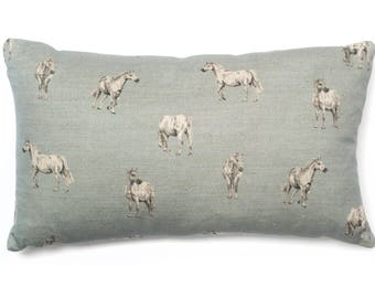 Pony Cushion Blue Linen Horse Pillow