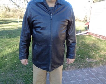 Black Leather jacket,coat size XL,or 48,mans 1980s vintage better made,softer supple leather