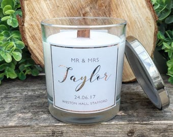 Wooden Wick Soy Wax Personalised Wedding Candle