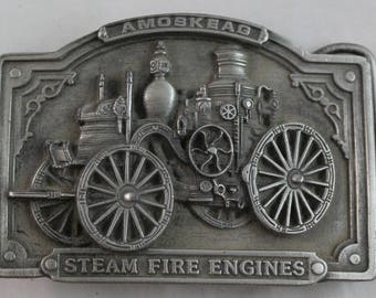 "Belt Buckle Steam Fire Engines 1985 Amoskeag Bergamot Brass Works 3""x2-1/4"" H-42"