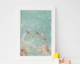 Carnival Art, Kids Wall Art, Ferris Wheel, Baby Blue, Pink, Bokeh, Instant Digital Download, Printable Art - Candy Wheel