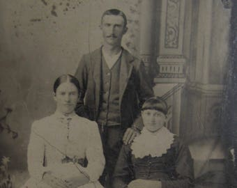 Mom and Dad Would Be Proud - Original 1880's Siblings Family Tintype Photograph - Free Shipping