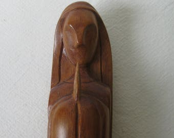 Beautiful Mexican Modernist Madonna Handmade from oak or Walnut Wood, Serene and Peaceful.