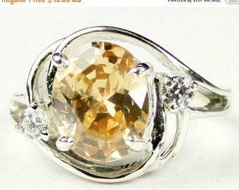 On Sale, 30% Off, Champagne CZ, 925 Sterling Silver Ladies Ring, SR021