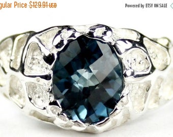 On Sale, 30% Off, London Blue Topaz, 925 Sterling Silver Men's Ring, SR168