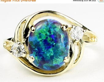 On Sale, 30% Off, Created Blue Green Opal, 14KY Gold Ring, R021