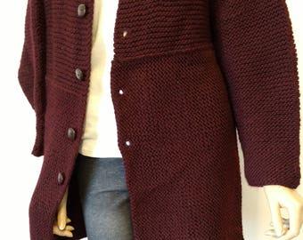 Women's Sweater Coat - Medium, Eggplant