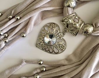 Taupe Tan Scarf Necklace w/Sliding Bail and Stone Pendant, Embellished Fashion Scarf, Beige Accessories, Stocking Stuffer Under 20