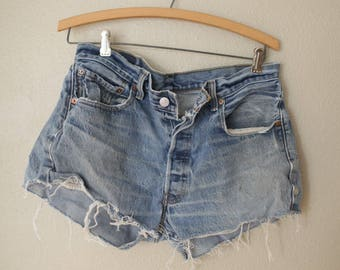vintage 1980's distressed cut off levis 501 button fly  jean shorts 32 34