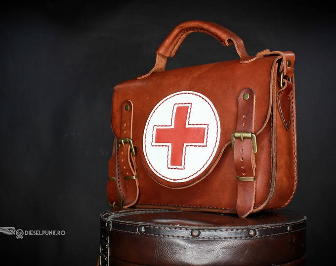 Medical Bag - Leather Bag - Hand made Bag - Messenger Bag - Red cross bag - Doctor Bag