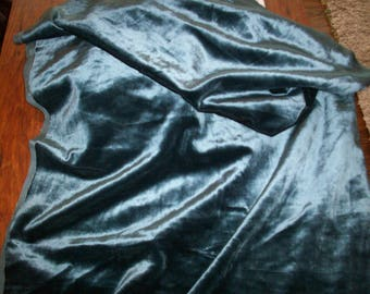 Antique Victorian French Silk Velvet Fabric in Teal Jade