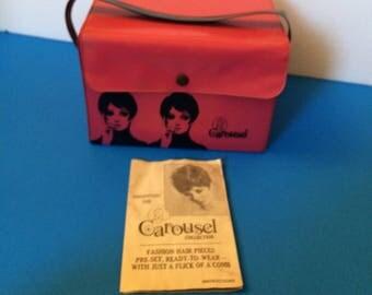 Vintage 60s Mod Twiggy Carousel Wig Pink Vinyl Storage Box Case