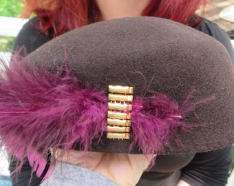 """Vintage Hat Wool """"Belvedere"""" Style Beret by Henry Pollak, Co. Fifth Avenue New York   //  Felted Wool  //  Gold Beads and Purple Feathers"""