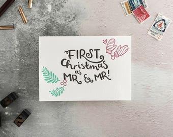 First Christmas As Mr & Mr Letterpress Christmas Card
