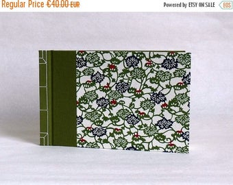 Little Golden book or travel book, Japanese binding and washi, floral pattern print paper