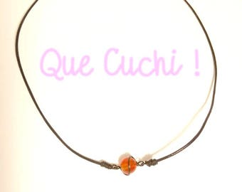 Necklace leather cord and Pearl Carnelian