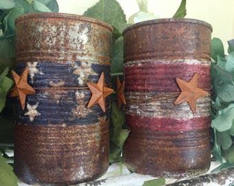 Americana Primitive Tin Cans Rustic Farmhouse American Flag Labor Memorial Independence Day 4th of July 4 Decoration Table Centerpiece Decor