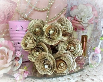 12 Vintage German Book Page Paper Roses Flower Bouquet Faux Pearls of Wisdom Wedding Home Dorm Decor Centerpiece Rustic Handcrafted Gift