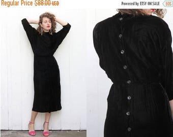 30% OFF Vintage 70s Dress | 70s Black Velvet Midi Dress Holiday Party Mock Neck | Medium M