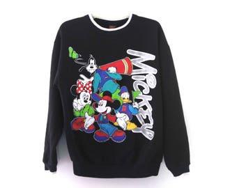 Vintage 90s Mickey Mouse sweatshirt black neon 80s