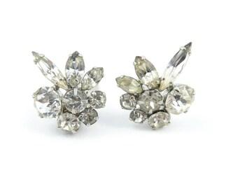 Vintage Rhinestone Cluster Earrings, Clip Ons