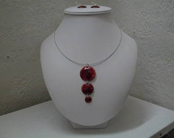 """Ruby Red """"bubble"""" set, jewelry by Leszemaux enamels."""