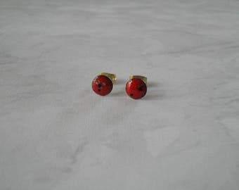 "Earrings ""nail"" ""Galaxy"", red, black, white."