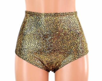 "High Waist ""Siren"" Hot Pants in Gold on Black Shattered Glass Holographic Spandex Rave Festival Clubwear Sparkly Shiny - 154689"
