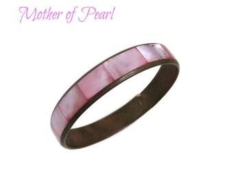 Pink Mother of Pearl Bracelet - Vintage MOP Inlay Bracelet, Pastel Bangle