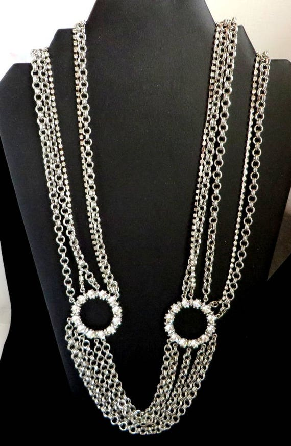 White House Black Market Chain Link Necklace, Vintage Multistrand Rhinestone Silver Tone Statement Necklace