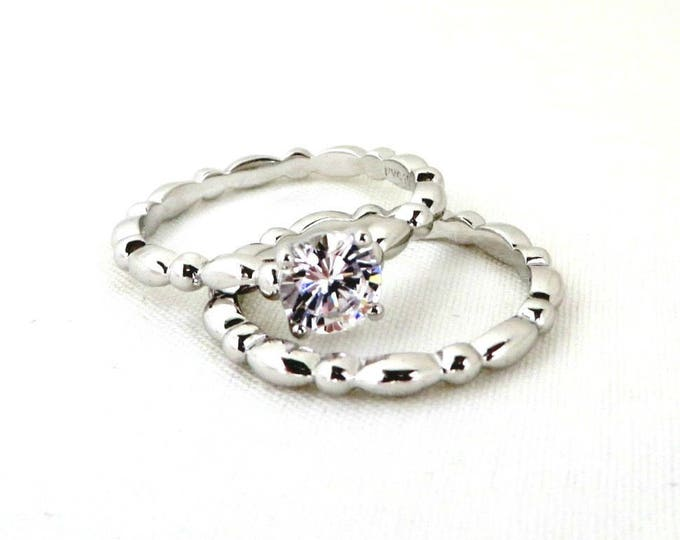 Topaz Wedding Ring Set, Vintage Sterling Silver, Scalloped Bands Bridal Jewelry Engagement Wedding Ring Set, Size 9-9.5