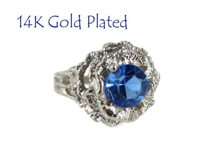 14K White Gold - Blue Stone Cocktail Ring, Faux Topaz Ring, 14K White Gold Plated Ring, Vintage Dinner Ring, Size 6, FREE SHIPPING