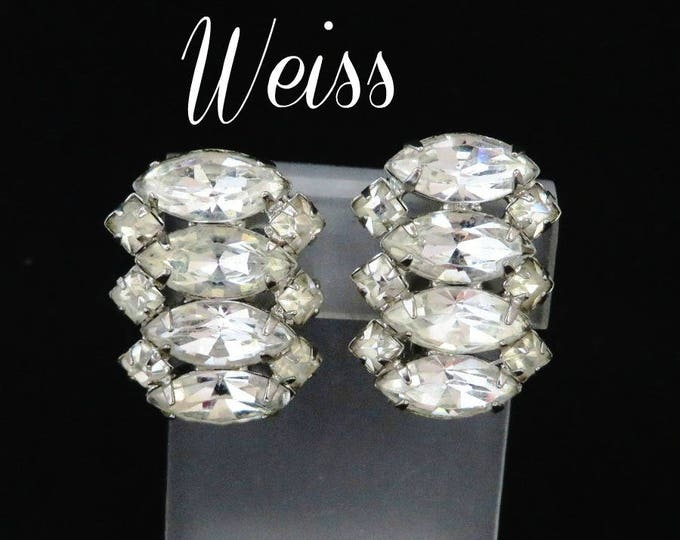 Weiss Marquise Rhinestone Earrings, Vintage Silver Tone Designer Signed Clip-on Earrings, Bridal Jewelry